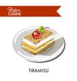 tiramisu cake italian cuisine traditional vector image vector image