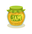 transparent jar with lemon jam glass pot with vector image vector image