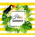 tropical background with palm and toucan vector image