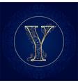 Vintage floral alphabet letter Y vector image