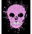 grunge skull on black background vector image