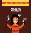 native american indian holding spear and tomhawk vector image