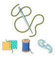 a spool with threads a needle a curl a seam on vector image vector image
