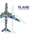 Art flying airplane with abstract colorful vector image