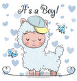 baby shower greeting card with cute alpaca boy vector image vector image