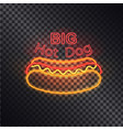 big hot dog neon icon isolated on black backdrop vector image