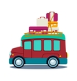 Bus Side View With Heap Of Luggage vector image