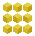 Cartoon isometric sand rock stone game brick cube vector image vector image