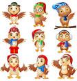 cartoon owls collection set vector image vector image