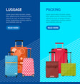 cartoon travel suitcase banner vecrtical set vector image vector image