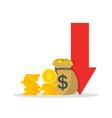 cost low and loss decrease revenue crisis vector image