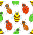 cute cartoon seamless pattern with funny bugs vector image vector image