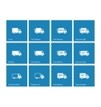 Delivery Trucks icons on blue background vector image vector image