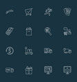 ecommerce icons line style set with shopping vector image