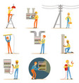 electrician in uniform and hard hat working with vector image vector image
