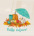 fall or autumn leaves and apple mushroom on it vector image