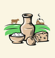 farmers milk products vector image
