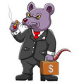 fat rat corrupter with business suite vector image