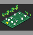football 4-2-2-2 formation with isometric field vector image vector image