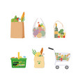 fresh groceries in assorted bags and baskets vector image