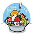 Fruit salad with yogurt and strawberry vector image