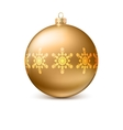 Gold Christmas ball with snowflackes vector image vector image