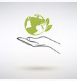 hand and earth ecology icon vector image