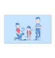 happy family gardening gardening together vector image vector image