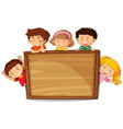 kids on wooden board vector image vector image