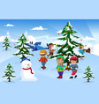 kids skating around a christmas tree vector image