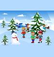 kids skating around a christmas tree vector image vector image