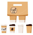 kraft brown white paper coffee cup with cap vector image vector image