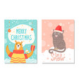 let it snow poster with bear gift box cat in hat vector image