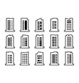 line company icons set black building collection vector image vector image