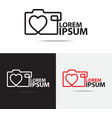 love camera logo vector image vector image