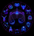 neon horoscope circle with signs of zodiac set vector image