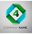 Number four logo symbol in the colorful rhombus vector image vector image