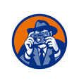 Photographer with fedora hat aiming retro slr vector image vector image