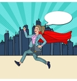 Pop Art Super Business Woman with Red Cape Running vector image vector image