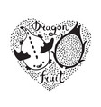 print with heart and dragon fruit vegan food vector image