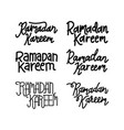 ramadan kareem text handwritten set template vector image
