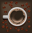 realistic detailed coffee cup on a beans vector image vector image