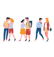 romantic date couples walking guys and girls vector image