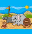 safari animals cartoon characters group vector image vector image