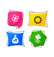 saint patrick day icons money bag with clover vector image