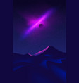 science fiction desert art at night time vector image vector image