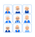 set avatars old people of heads of elderly people vector image