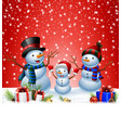 set of cartoon snowman with christmas background vector image