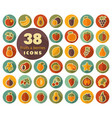 set of fruits and berries flat icons vector image vector image