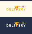 Set of logos pizza delivery in bright flat